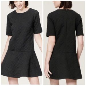 Ann Taylor LOFT Black Quilted Drop Waist Dress